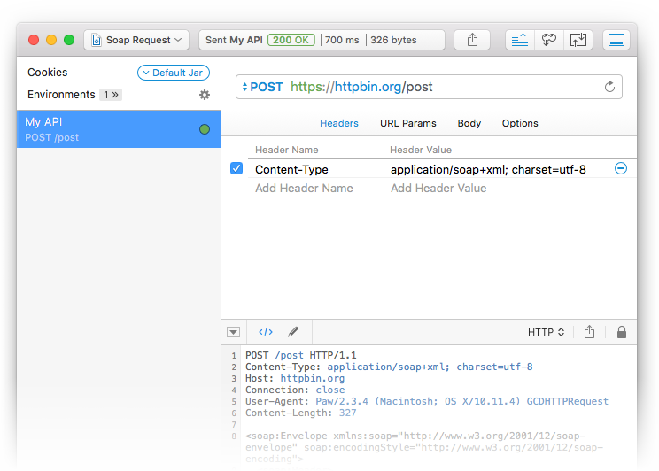 in the url field choose the post method and set the content type header to applicationsoapxml charsetutf 8